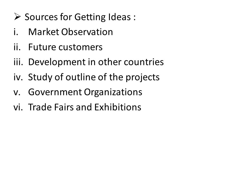 Sources for Getting Ideas :