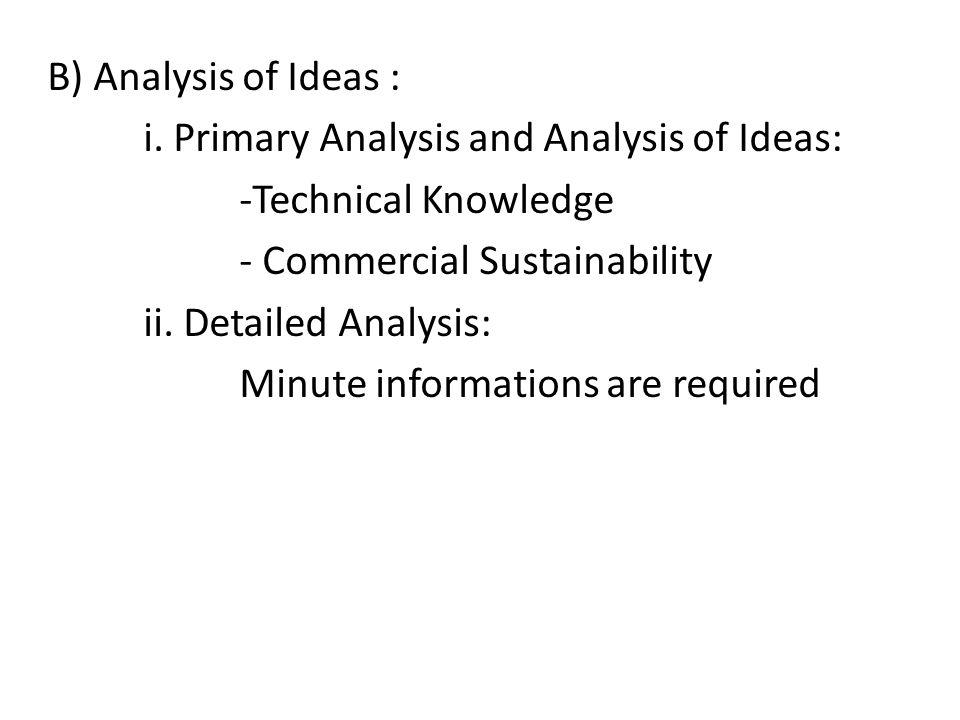 B) Analysis of Ideas : i.