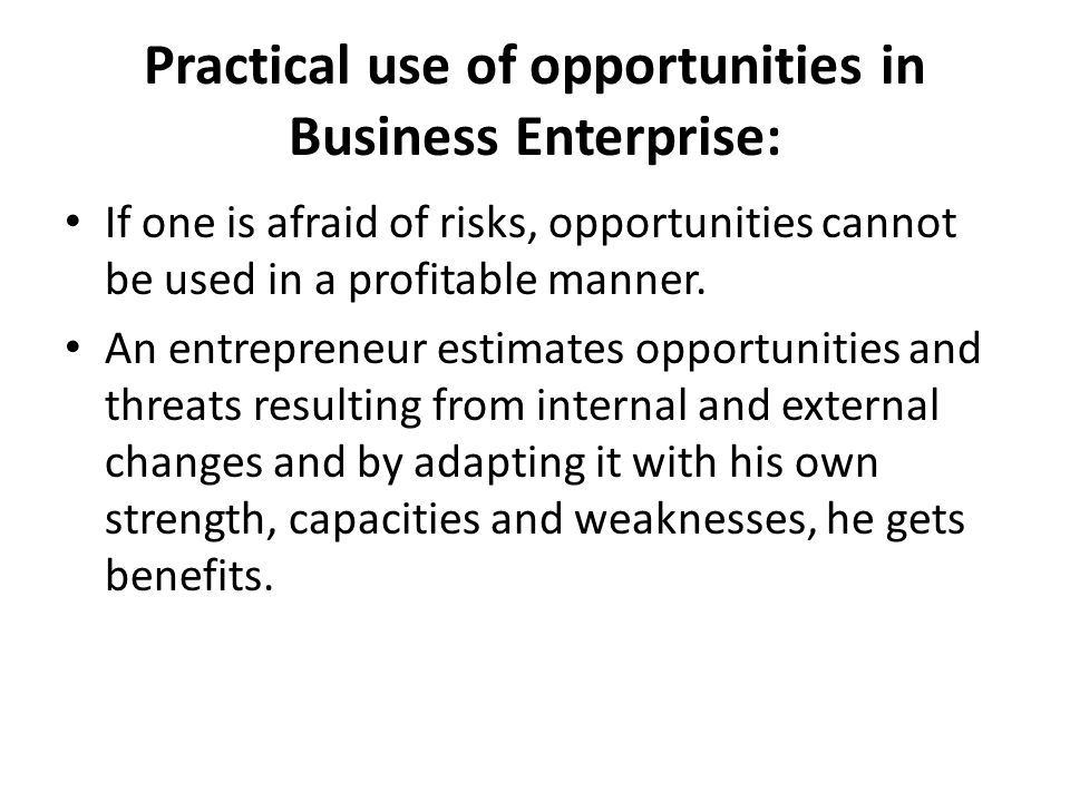 Practical use of opportunities in Business Enterprise: