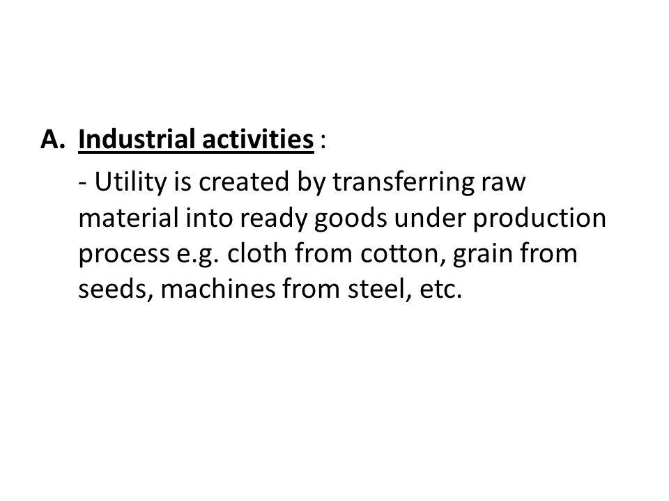 Industrial activities :