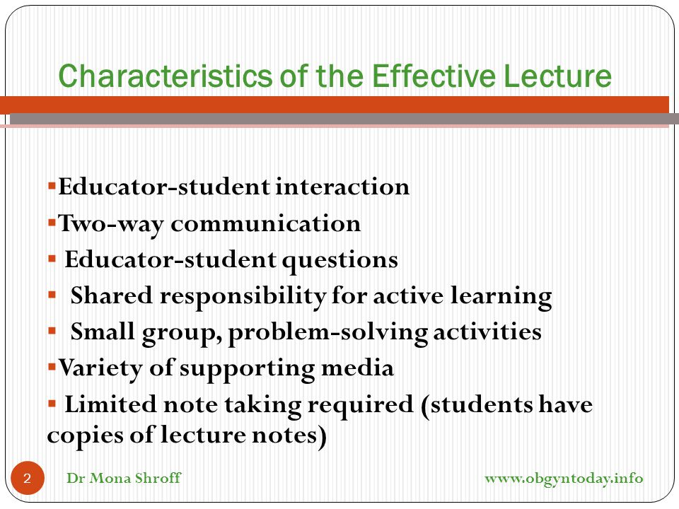 Characteristics of the Effective Lecture