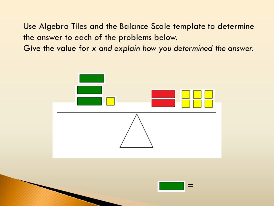 Use Algebra Tiles and the Balance Scale template to determine the answer to each of the problems below.