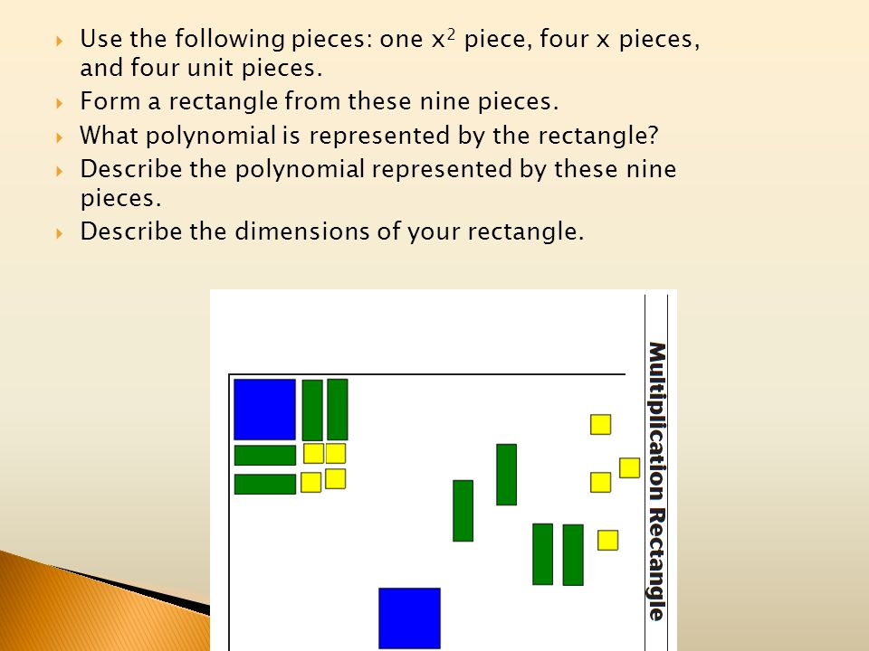 Use the following pieces: one x2 piece, four x pieces, and four unit pieces.