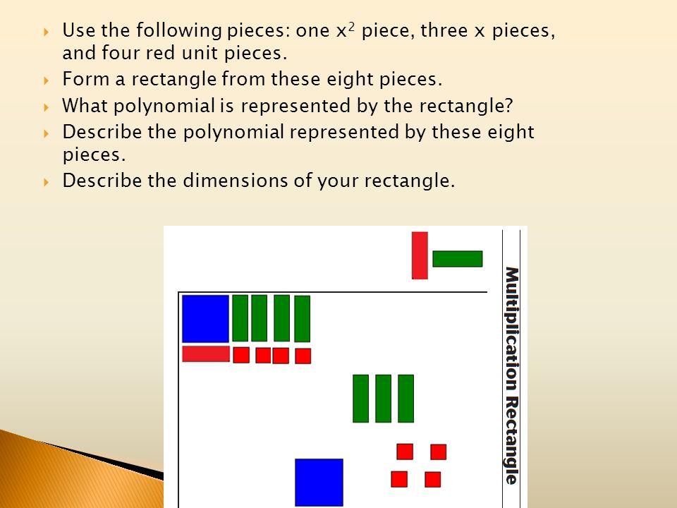 Use the following pieces: one x2 piece, three x pieces, and four red unit pieces.