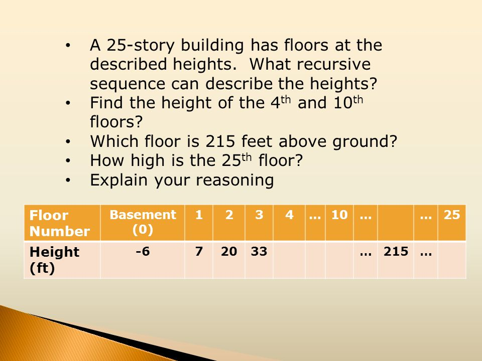 Find the height of the 4th and 10th floors
