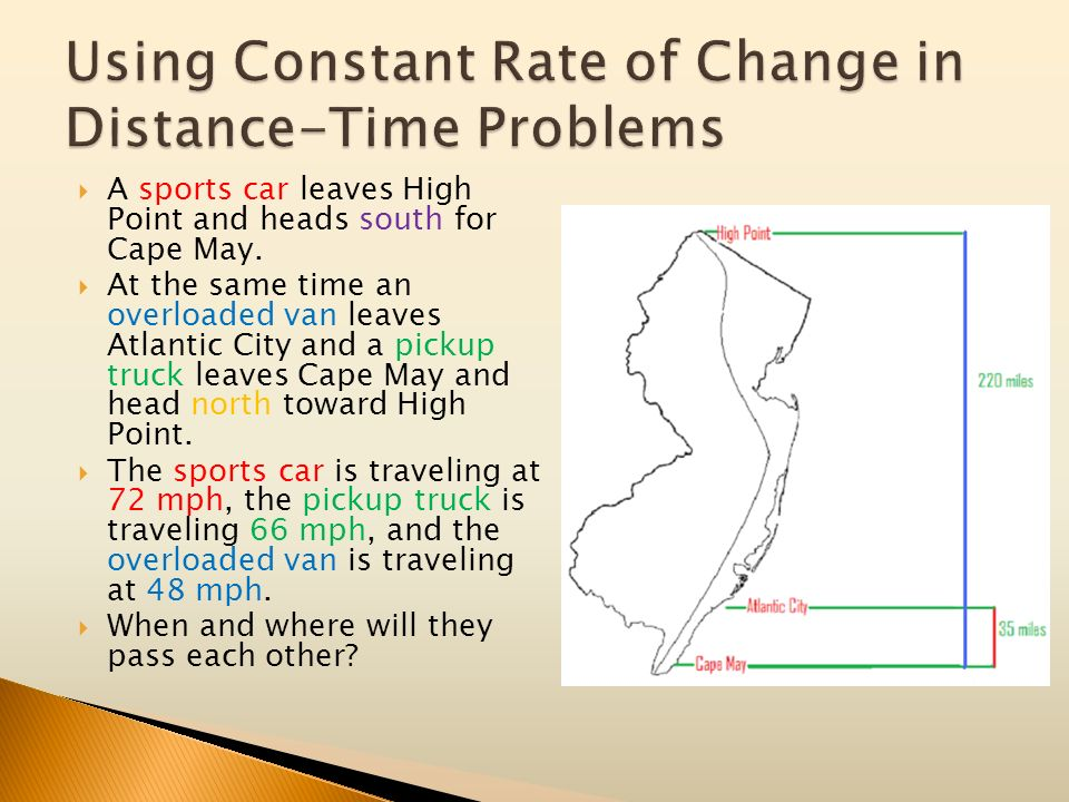 Using Constant Rate of Change in Distance-Time Problems