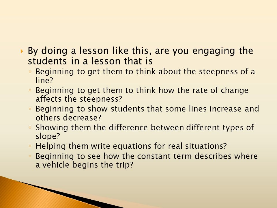 By doing a lesson like this, are you engaging the students in a lesson that is