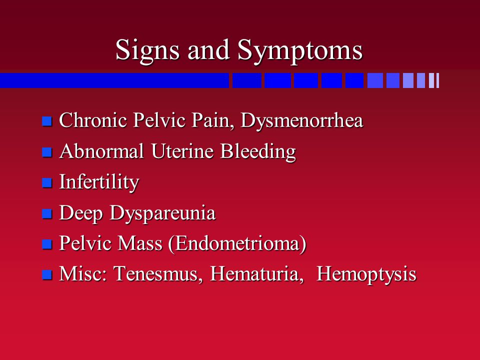 Signs and Symptoms Chronic Pelvic Pain, Dysmenorrhea