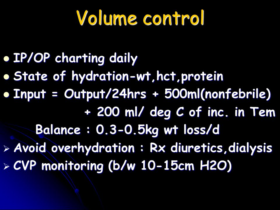 Volume control IP/OP charting daily State of hydration-wt,hct,protein