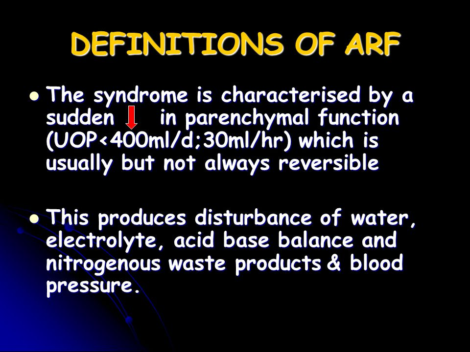 DEFINITIONS OF ARF