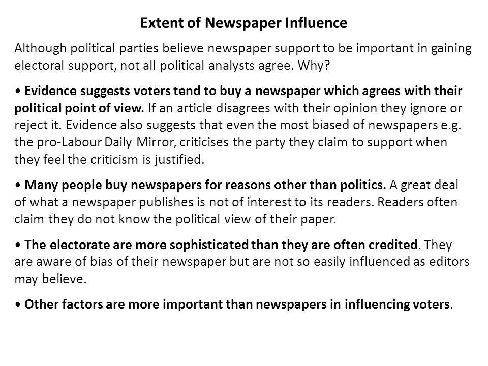 Extent of Newspaper Influence