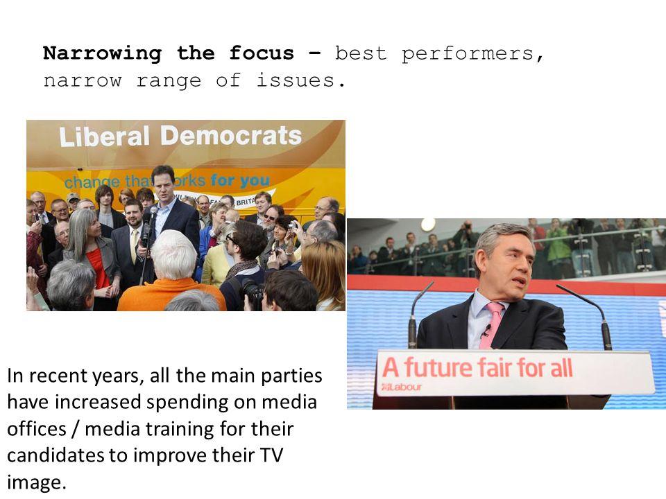 Narrowing the focus – best performers, narrow range of issues.
