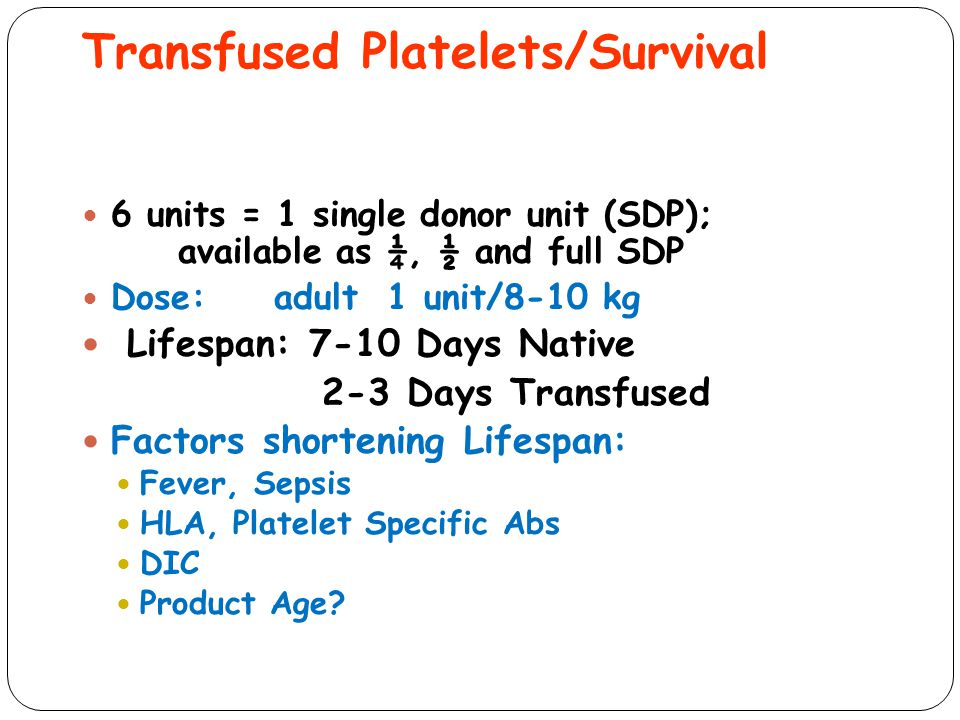 Transfused Platelets/Survival
