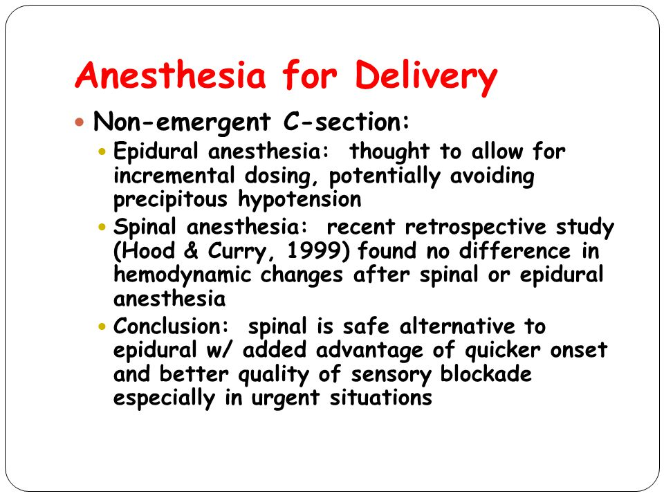 Anesthesia for Delivery