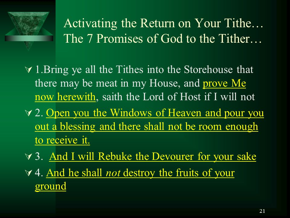 Activating the Return on Your Tithe… The 7 Promises of God to the Tither…
