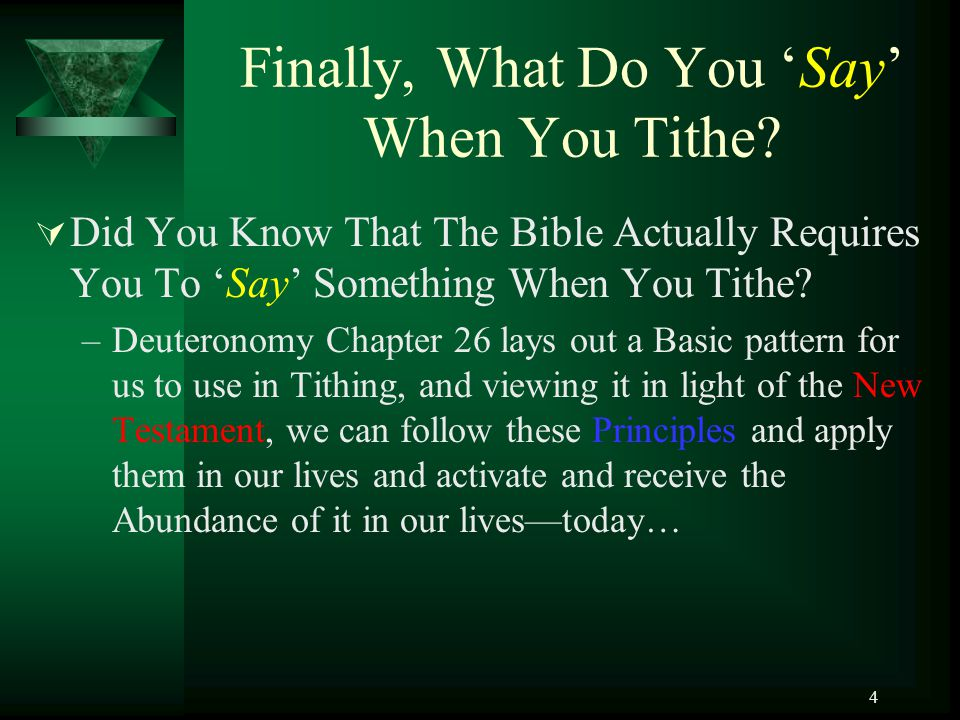 Finally, What Do You 'Say' When You Tithe