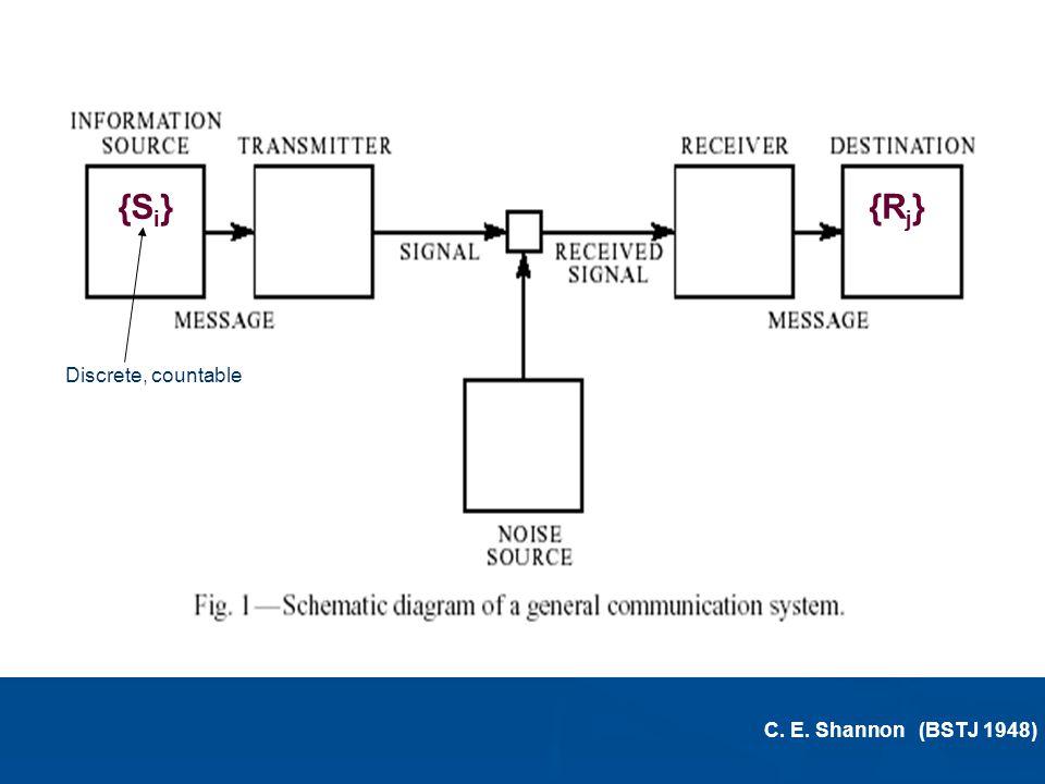 {Si} {Rj} {{ discrete Discrete, countable C. E. Shannon (BSTJ 1948)
