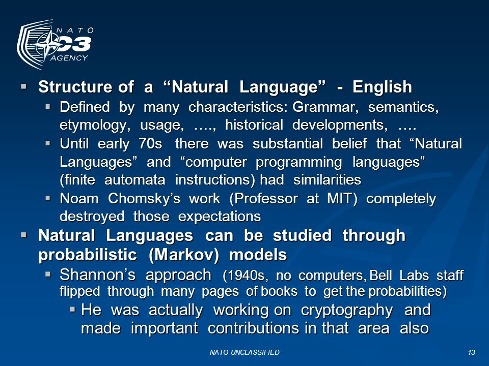 Structure of a Natural Language - English