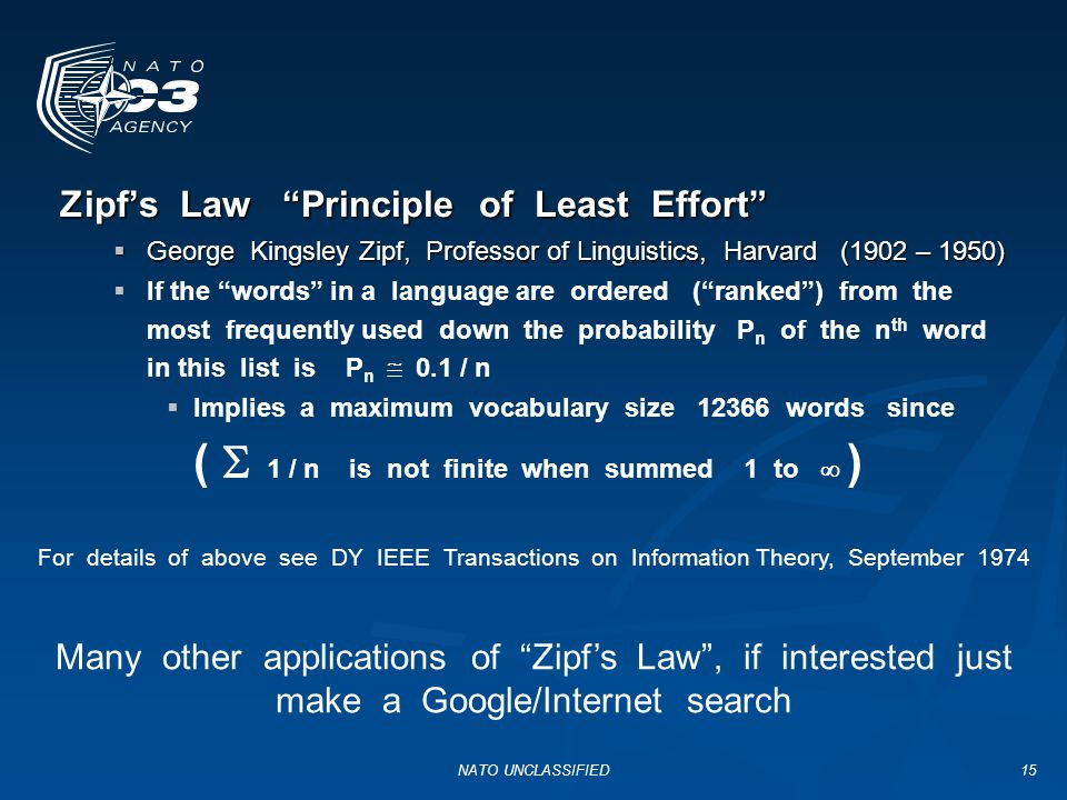 Zipf's Law Principle of Least Effort