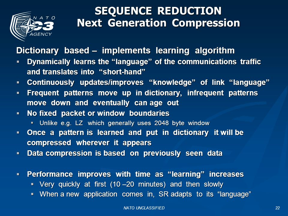 SEQUENCE REDUCTION Next Generation Compression