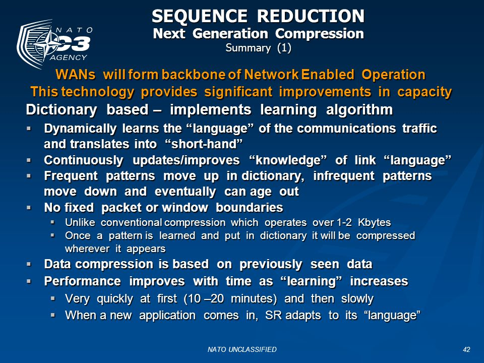 SEQUENCE REDUCTION Next Generation Compression Summary (1)