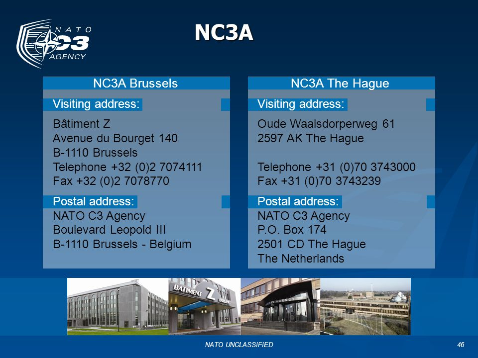 NC3A NC3A Brussels NC3A The Hague Visiting address: