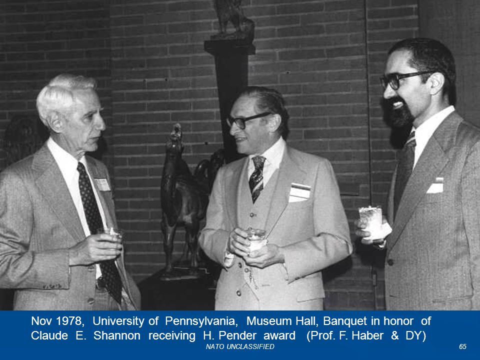 Nov 1978, University of Pennsylvania, Museum Hall, Banquet in honor of Claude E. Shannon receiving H. Pender award (Prof. F. Haber & DY)