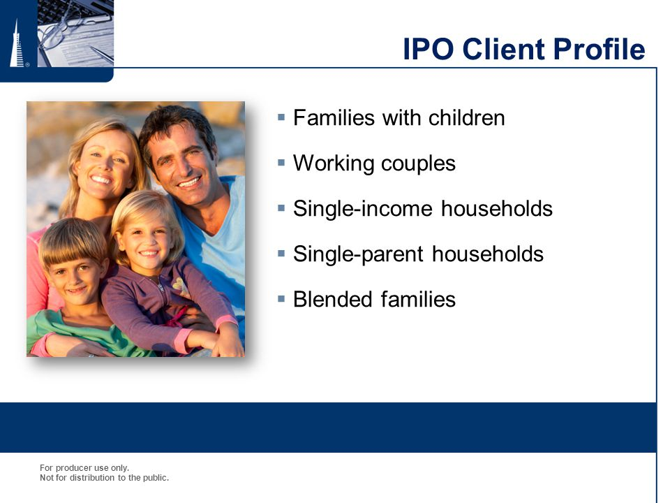 IPO Client Profile Families with children Working couples