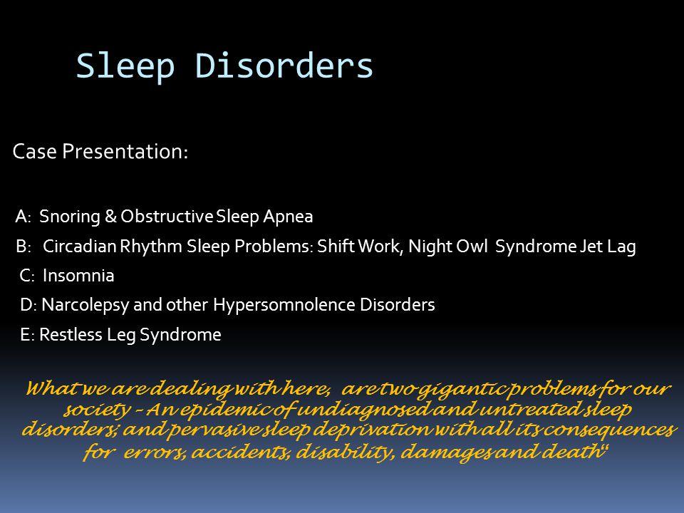 Sleep Disorders Case Presentation: