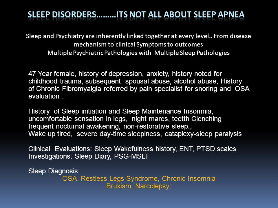 Sleep Disorders………Its Not all about sleep apnea