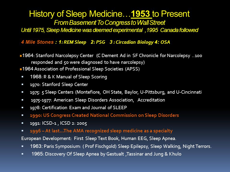 History of Sleep Medicine…1953 to Present From Basement To Congress to Wall Street Until 1975, Sleep Medicine was deemed experimental ,1995 Canada followed
