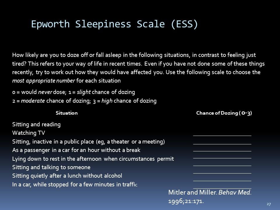 Epworth Sleepiness Scale (ESS)