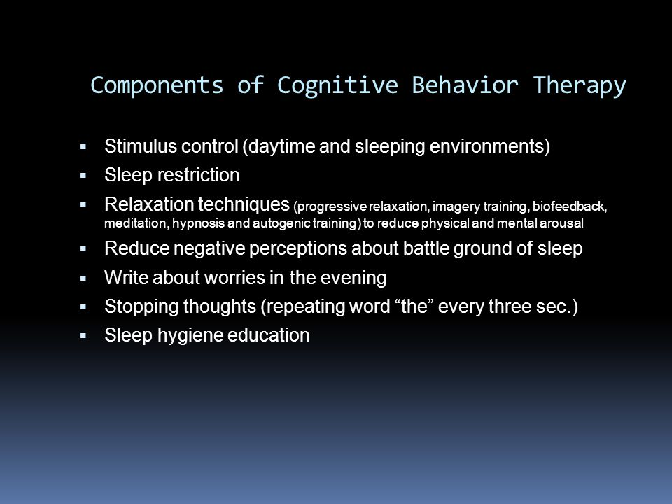 Components of Cognitive Behavior Therapy