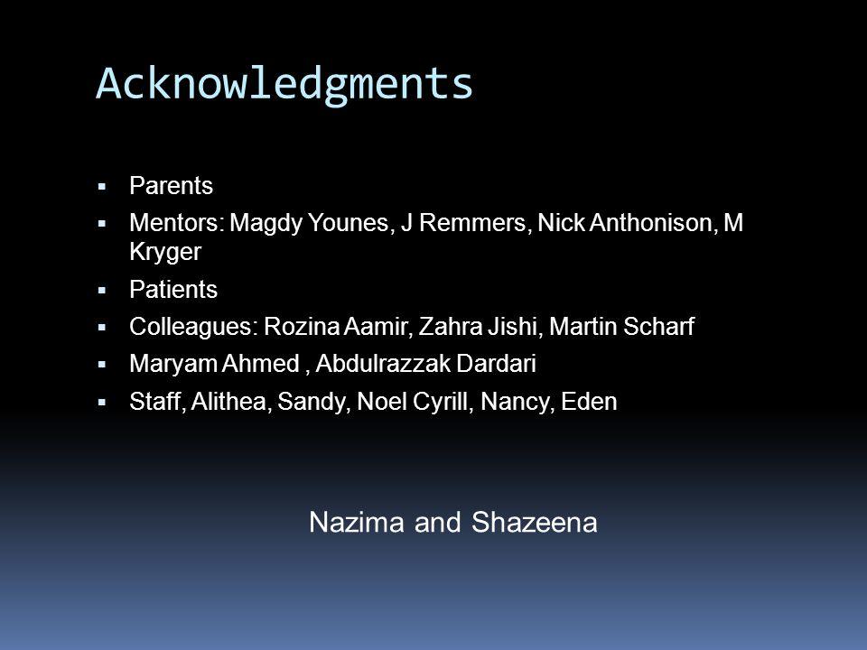 Acknowledgments Nazima and Shazeena Parents