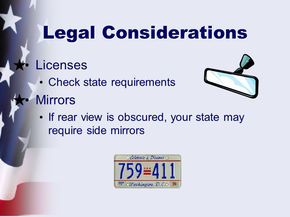 Legal Considerations Licenses Mirrors Check state requirements