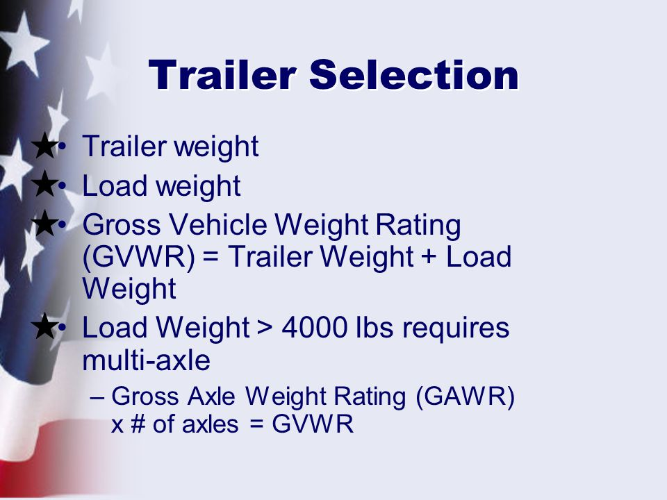 Trailer Selection Trailer weight Load weight