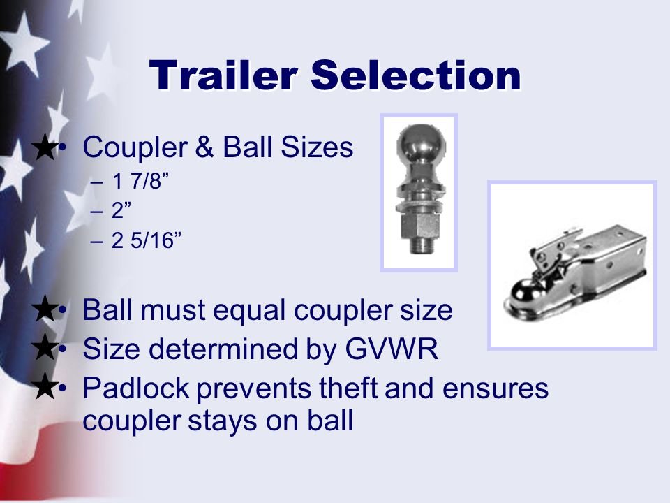 Trailer Selection Coupler & Ball Sizes Ball must equal coupler size
