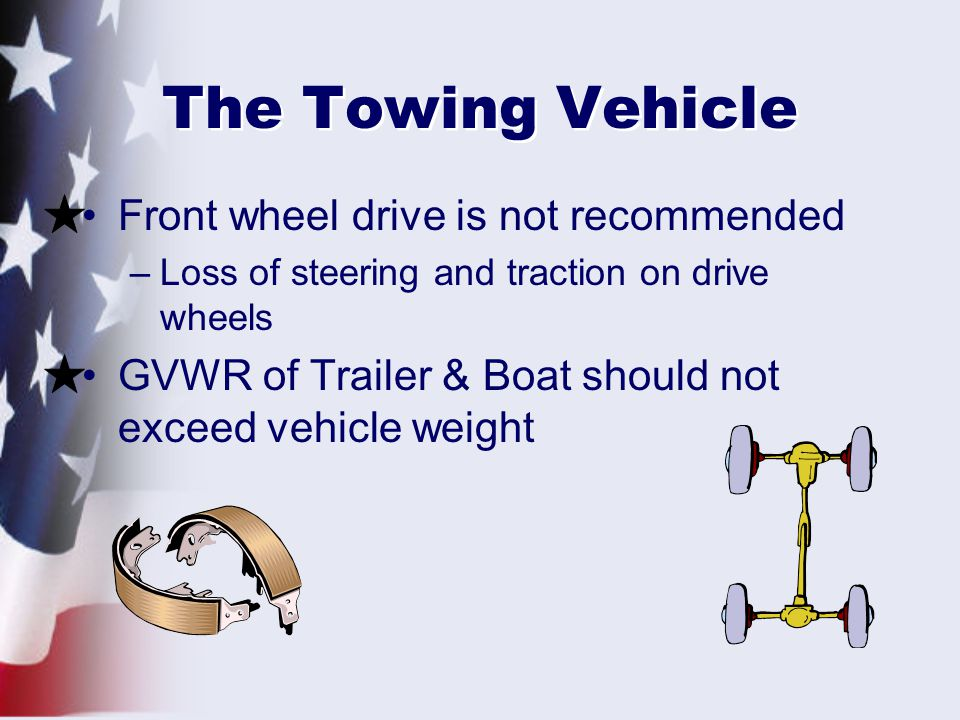 The Towing Vehicle Front wheel drive is not recommended