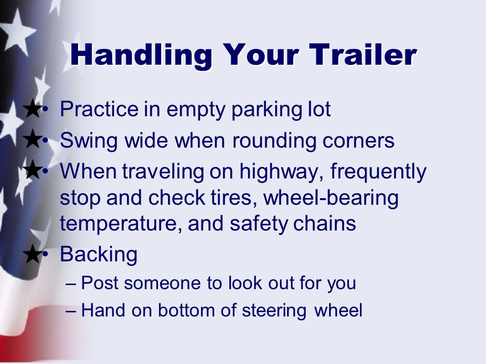 Handling Your Trailer Practice in empty parking lot