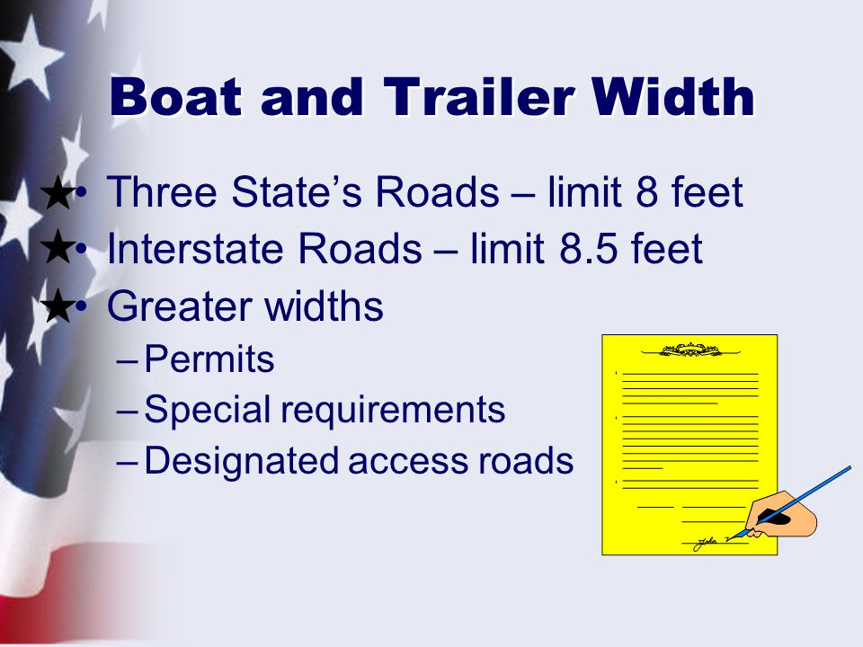 Boat and Trailer Width Three State's Roads – limit 8 feet