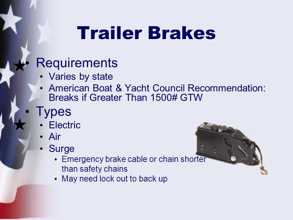 Trailer Brakes Requirements Types Varies by state
