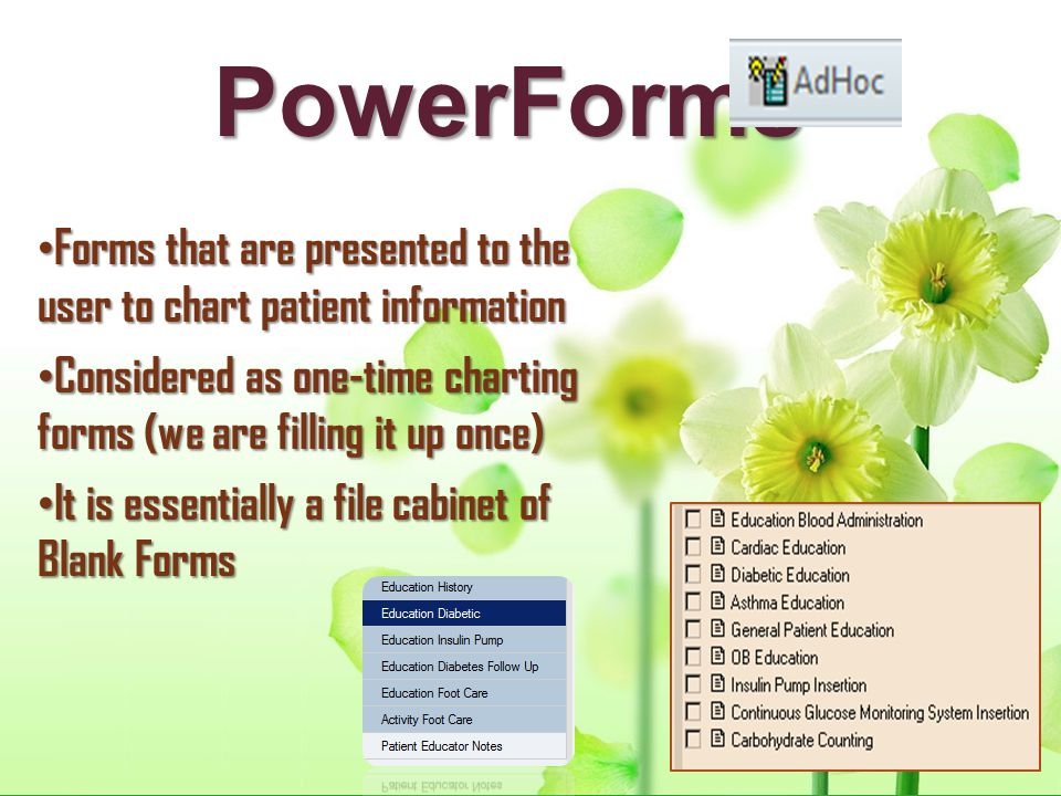 PowerForms Forms that are presented to the user to chart patient information. Considered as one-time charting forms (we are filling it up once)