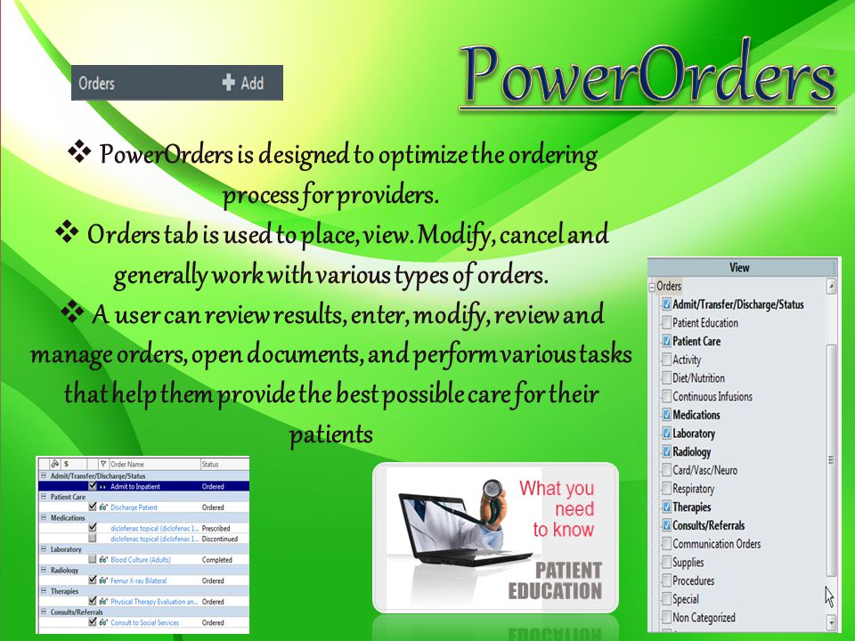 PowerOrders is designed to optimize the ordering