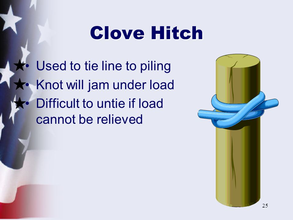 Clove Hitch Used to tie line to piling Knot will jam under load