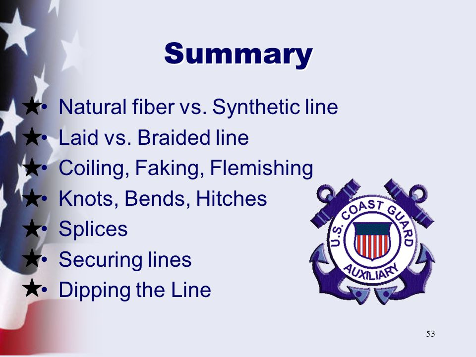 Summary Natural fiber vs. Synthetic line Laid vs. Braided line