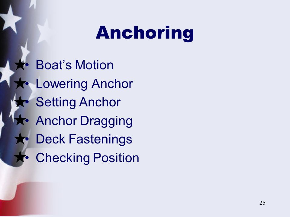 Anchoring Boat's Motion Lowering Anchor Setting Anchor Anchor Dragging