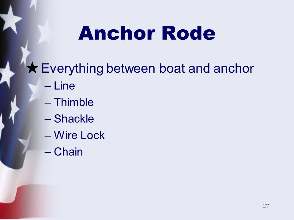 Anchor Rode Everything between boat and anchor Line Thimble Shackle