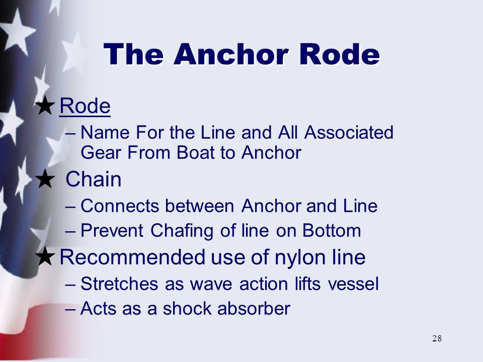 The Anchor Rode Rode Chain Recommended use of nylon line