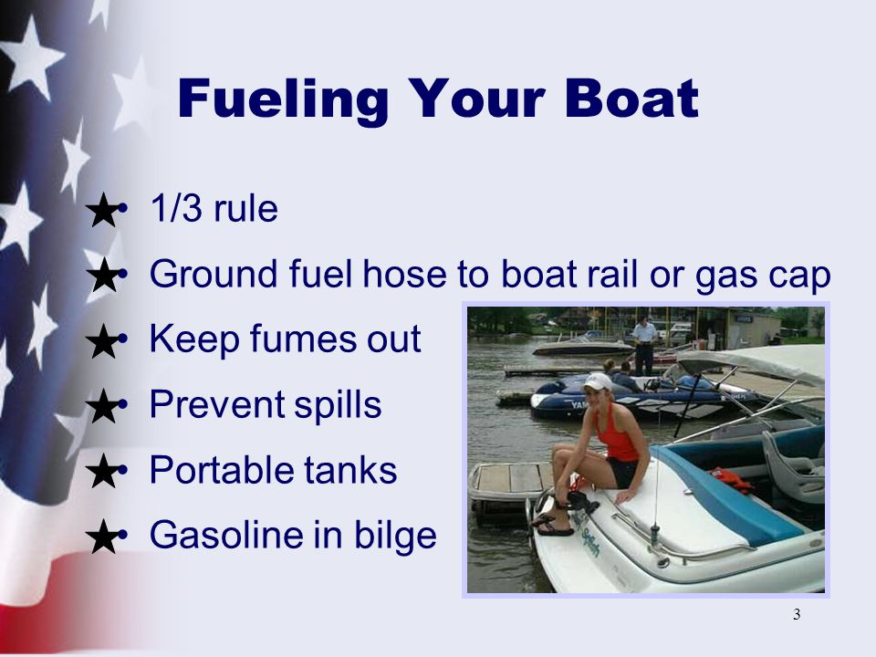 Fueling Your Boat 1/3 rule Ground fuel hose to boat rail or gas cap