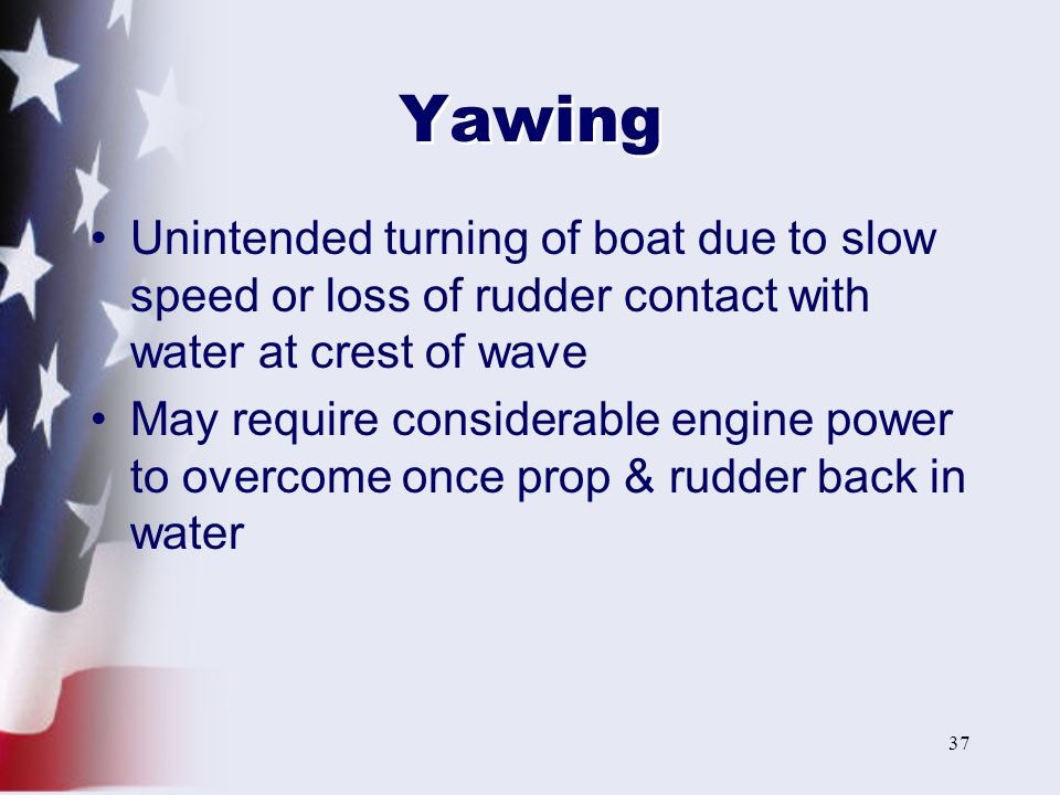 Yawing Unintended turning of boat due to slow speed or loss of rudder contact with water at crest of wave.